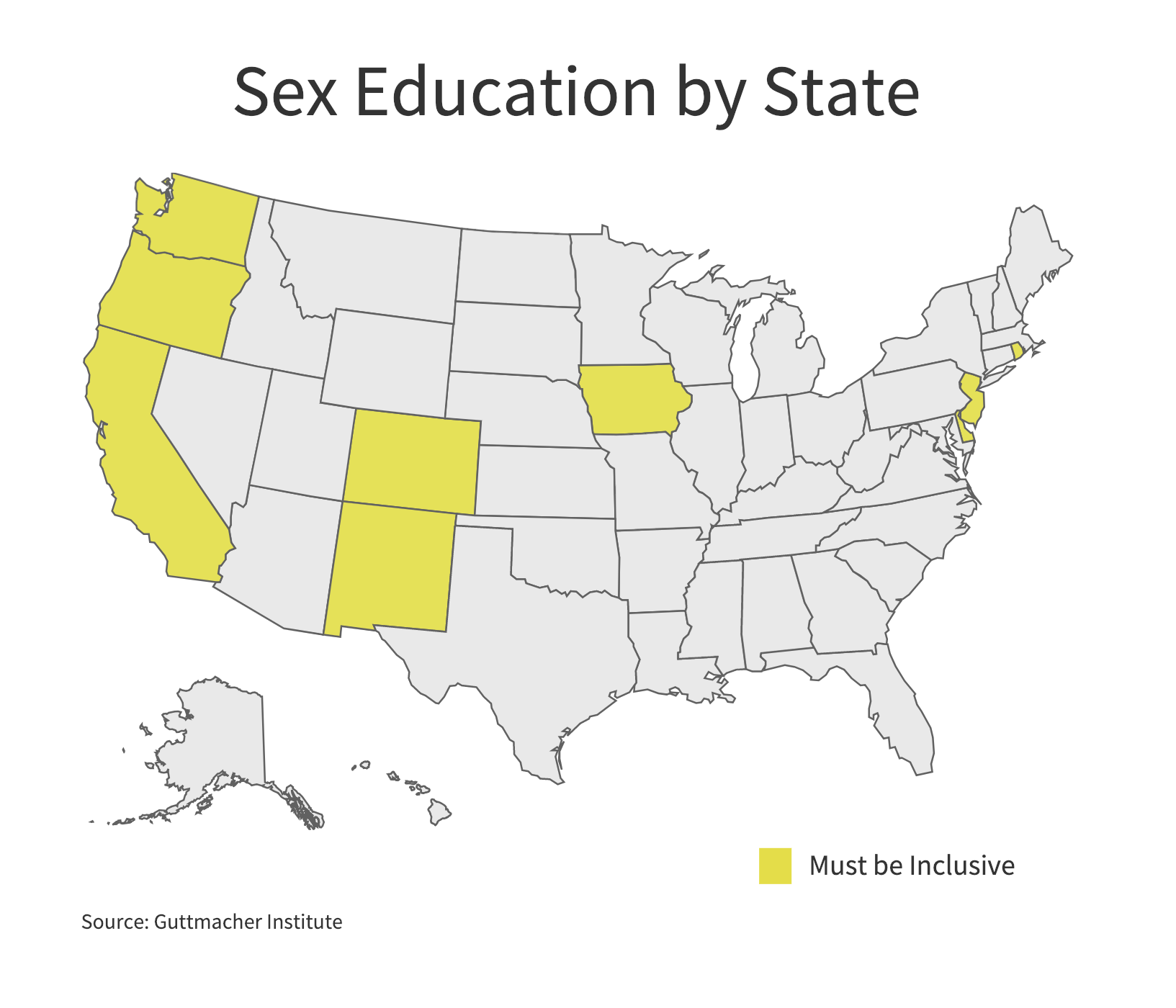Nine states require that when sexual education is provided it be inclusive of sexual orientations. (Charts by Ester Wells/MNS)