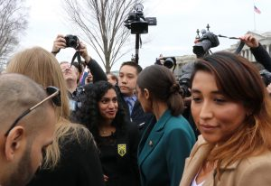 Founder of the Sunrise Movement, Varshini Prakash interviews Rep. Ocasio-Cortez in a livestream after the press conference on Thursday. Prakash and the Sunrise Movement are planning to visit key Congressional offices next week in hopes of influencing additional sponsors of the Green New Deal.