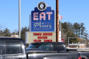 The Tilt'n Diner's roadside sign in Tilton, New Hampshire. (Charlotte Walsh/MNS)