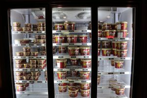 Freezers holding the Backroom's homemade ice cream. They have nearly three dozen flavors including their locally famous Mudslide.  (Charlotte Walsh/MNS)