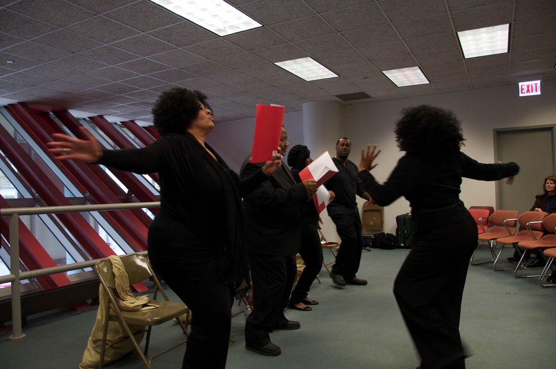 "Dancers during a reading from Crystal Phoenix Tyler's ""From Slavery to the White House."""