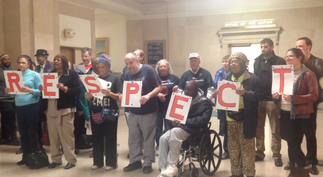 Mental health advocates at city hall