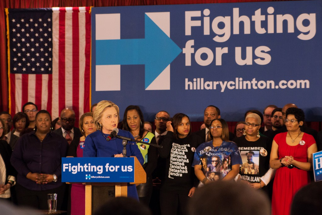 Hillary Clinton speaks at a rally in Bronzeville
