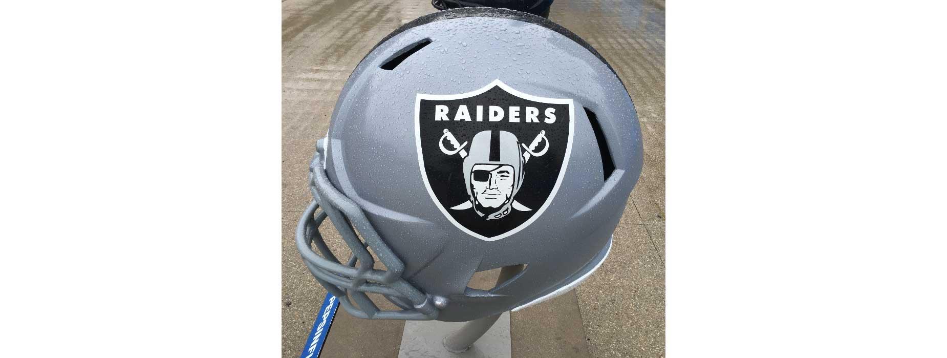 Raiders helmet on display