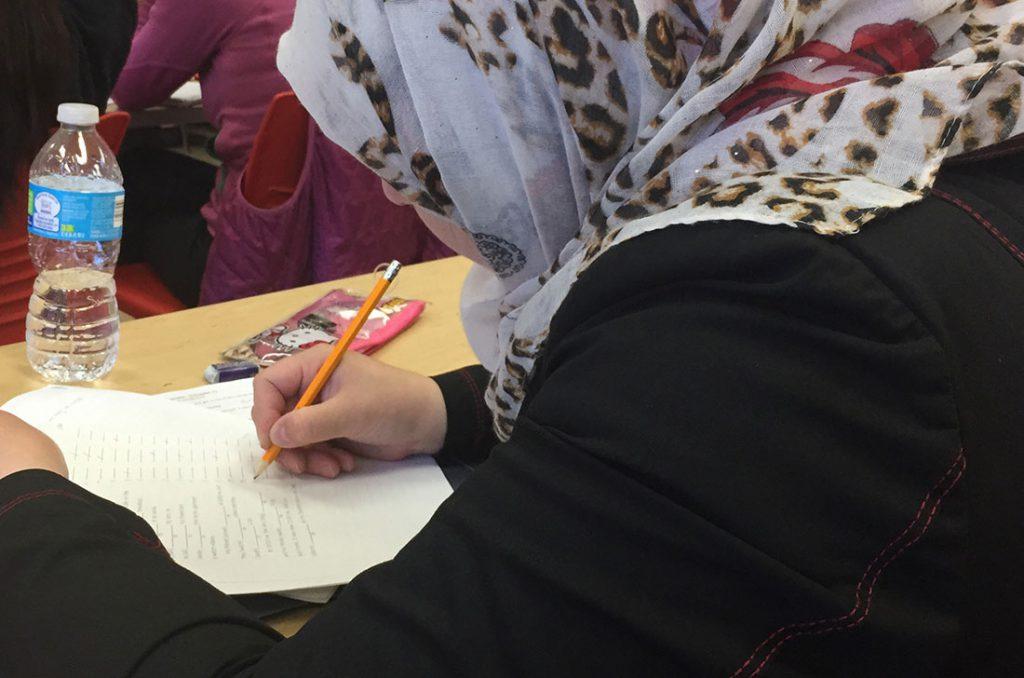 Um Mohammad in classroom