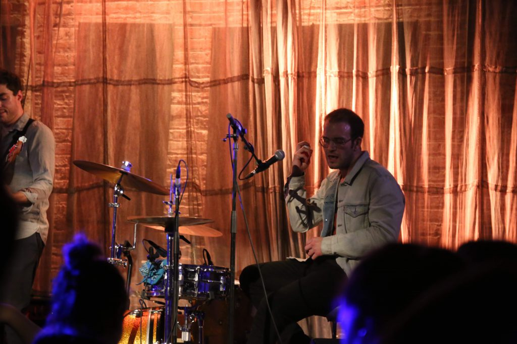 Theo Katzman playing drums at Evanston SPACE