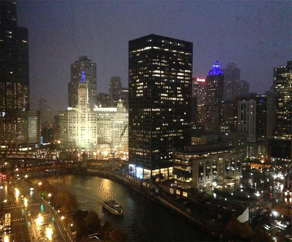 Downtown Chicago lit up at night