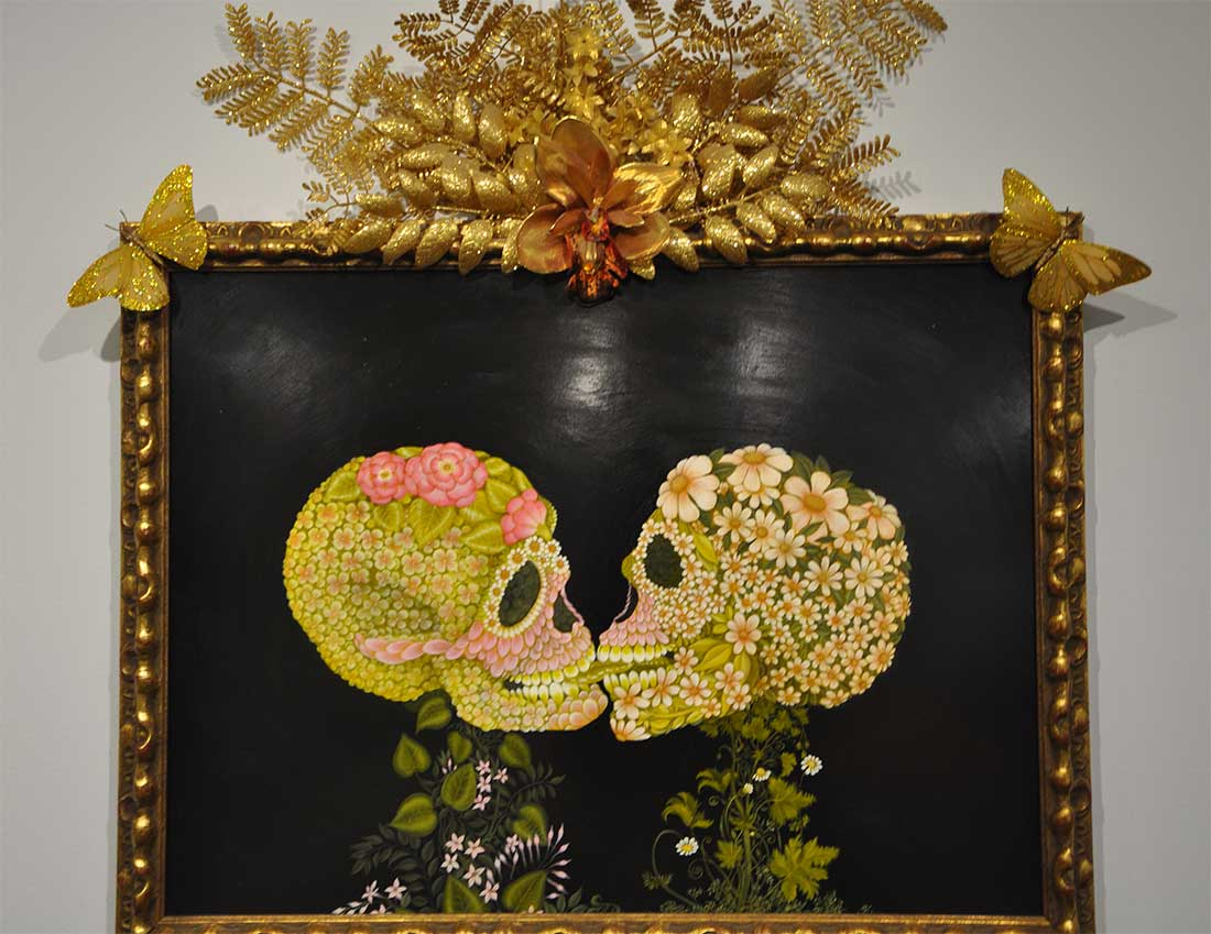 """A painting of two skulls called """"Eternal Lovers"""" by Tino Rodriguez"""