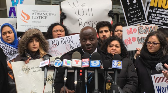 Jude Ssempungu, Board Member at the United African Organization, is speaking for immigrant communities in Chicago. (Wen-Yee Lee/MEDILL)