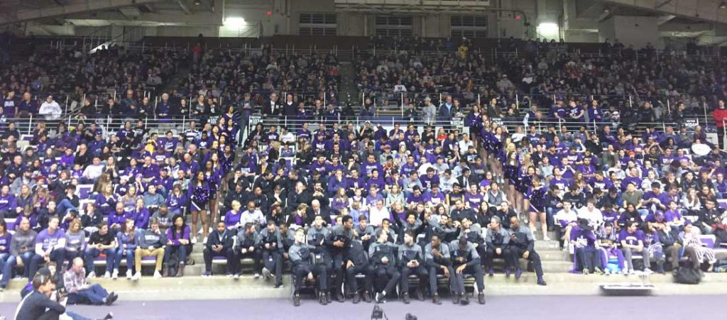 Fans in Welsh-Ryan Arena await the announcement that the Northwestern men's basketball team qualified for the NCAA tournament