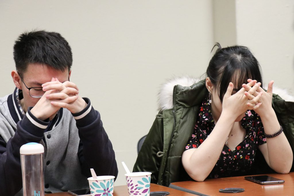 """Players close their eyes """"at night"""" when the moderator calls the roles that have abilities to perform their special action. (Xiaozhang (Shaw) Wan/MEDILL"""