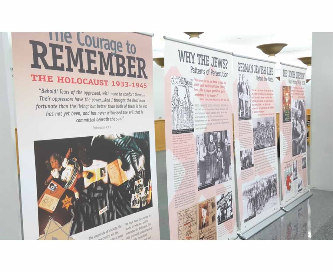 Forty panels make up the Courage To Remember exhibit at the Harold Washington Library Center