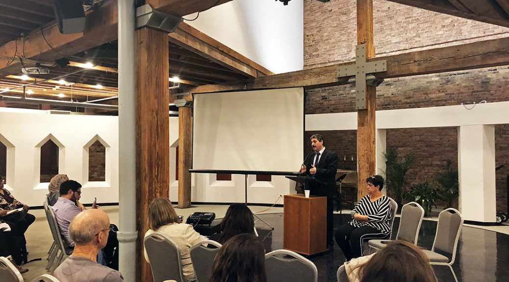 Jafar Farah and Nabila Espanioly speak at an event organized by the American Friends Service Committee in Chicago on Oct 5. It was held at the Grace Episcopal Church.