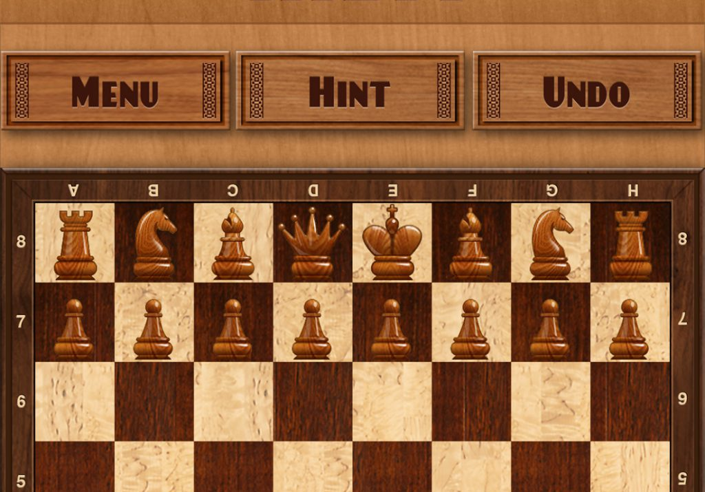 Screenshot of a chess game app – Chess. Chess programs running on smartphones today can play at the grandmaster level, according to the AI Index 2018 Annual Report.