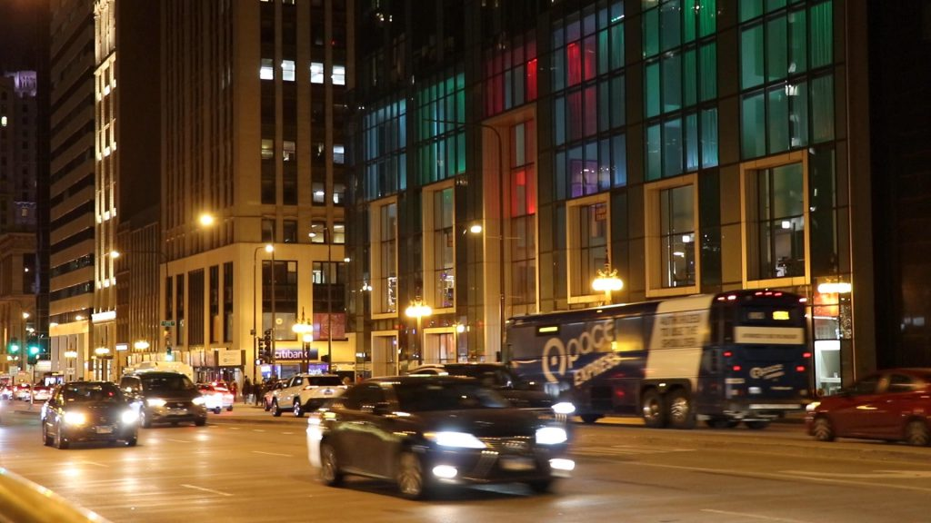 Cars on Michigan Avenue at night