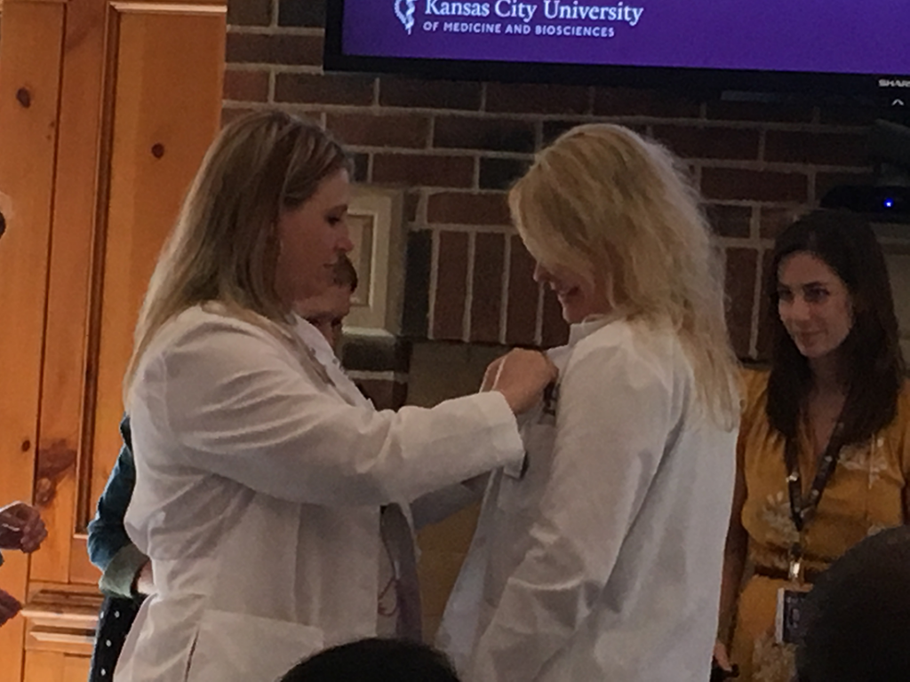 Brittney Justice at her white coat ceremony