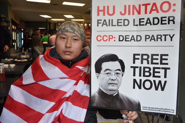 Hu visit brings calls to free Tibet