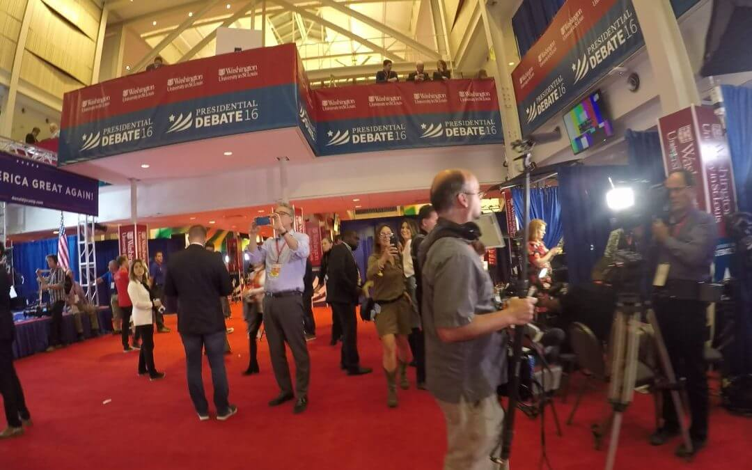Inside the WashU Spin Room before the debate
