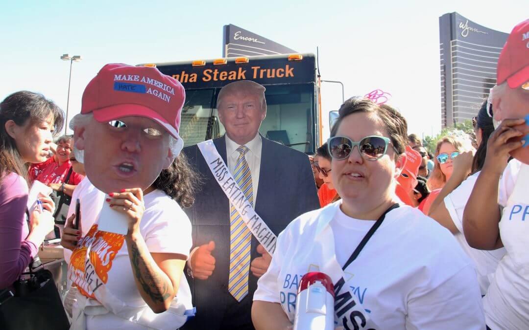 Anti-Trump workers rally before debate