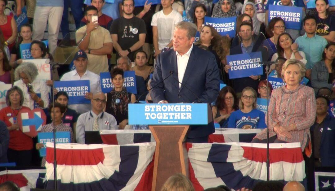 Gore and Clinton rally for climate change action in Florida