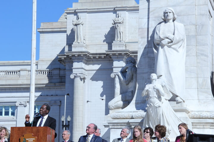Diplomats offer differing views on Columbus' legacy at annual holiday ceremony