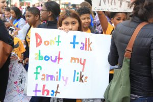 More than 60 youngsters from Capital City Middle School demonstrated, along with an adult chaperone. For Capital City, the protest was an optional field trip that required a signed permission slip. Students brought signs on their own, the chaperone said.