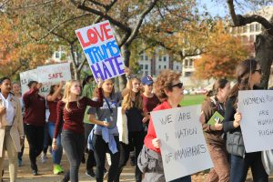 """The protest shut down traffic on Pennsylvania Avenue eastbound. Students chanted, """"No one can divide us if we stand together"""" and """"my body, my choice."""" Chris Jones, a history teacher at Edmund Burke School, said he was """"proud of his students."""""""