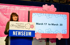 Karen Cucurullo, interim superintendent at National Park Service, reveals the expected date of the cherry blossom bloom. (Rhytha Zahid Hejaze/MNS)