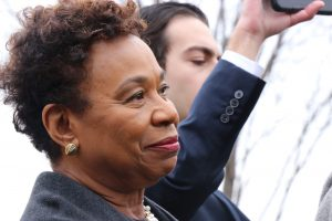 Rep. Barbara Lee, D-Calif., was one of many cosponsors in attendance at the Green New Deal press conference Thursday. (Dan Rosenzweig-Ziff/MNS)