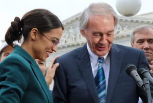 Rep. Ocasio-Cortez, D-N.Y., a freshman who has made herself an important social media presence as she leads a new progressive wing of the Democrats, and Sen. Ed Markey, D-Mass., a champion of previous climate bills, plan to introduce the Green New Deal into the House and Senate soon. (Dan Rosenzweig-Ziff/MNS)