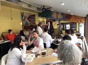 After a long day, Gays Against Guns activists talk and eat at Tortilla Coast restaurant near Capitol Hill.