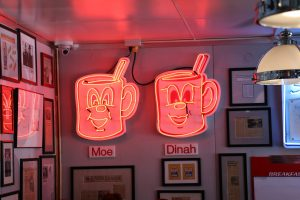 "The diner's mascots, ""Moe"" and ""Dinah."" (Charlotte Walsh/MNS)"