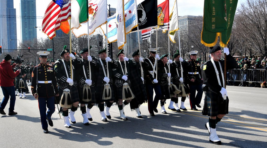 Chicago bagpipers in last year's parade