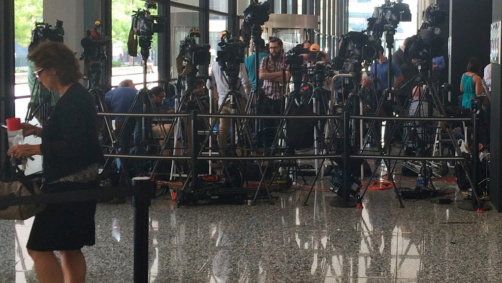 Media gather for Hastert arraignment