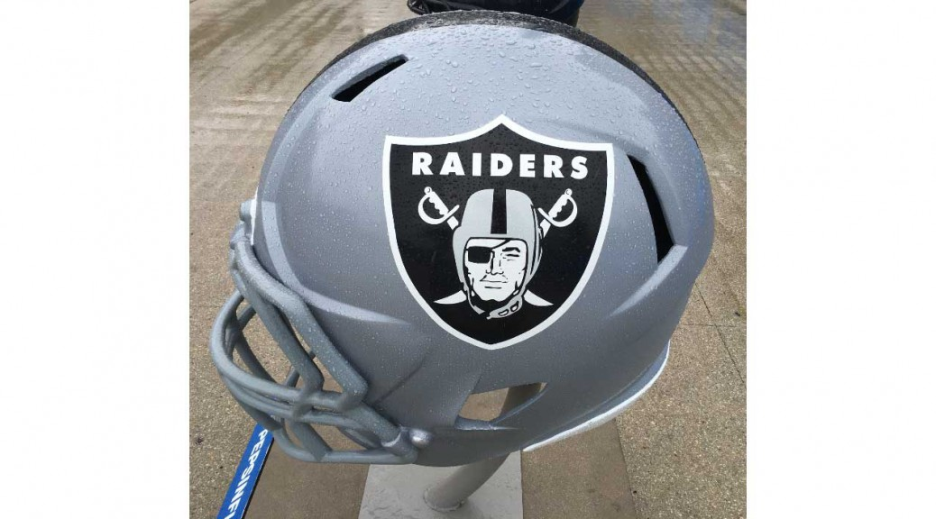 Raiders helmet on display