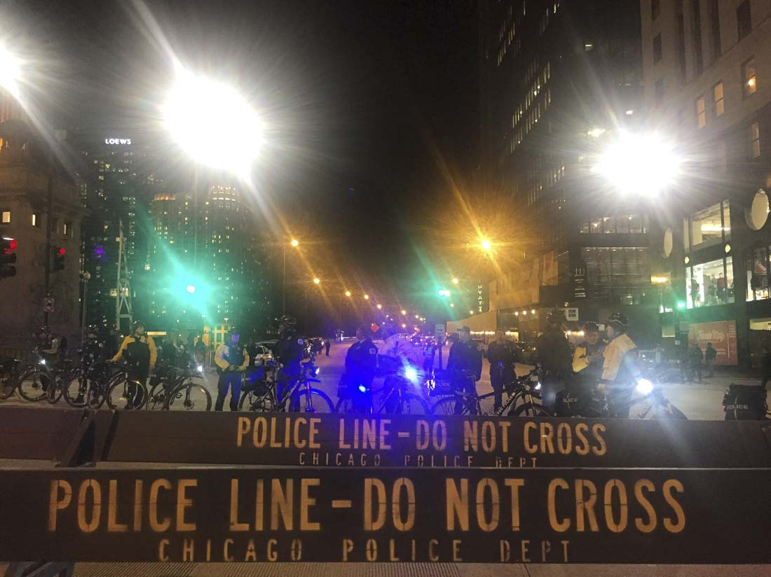 Police block streets during an anti-Trump rally in downtown Chicago.