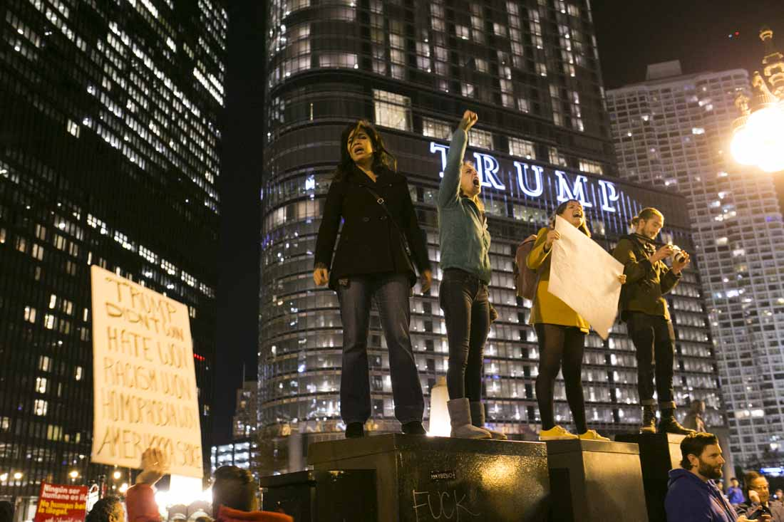 Protesters in front of tower