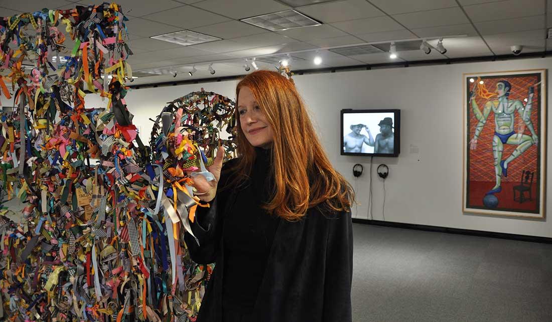 "Artist Karen Finley and ""Ribbon Gate"" in the Art AIDS America Chicago exhibit"