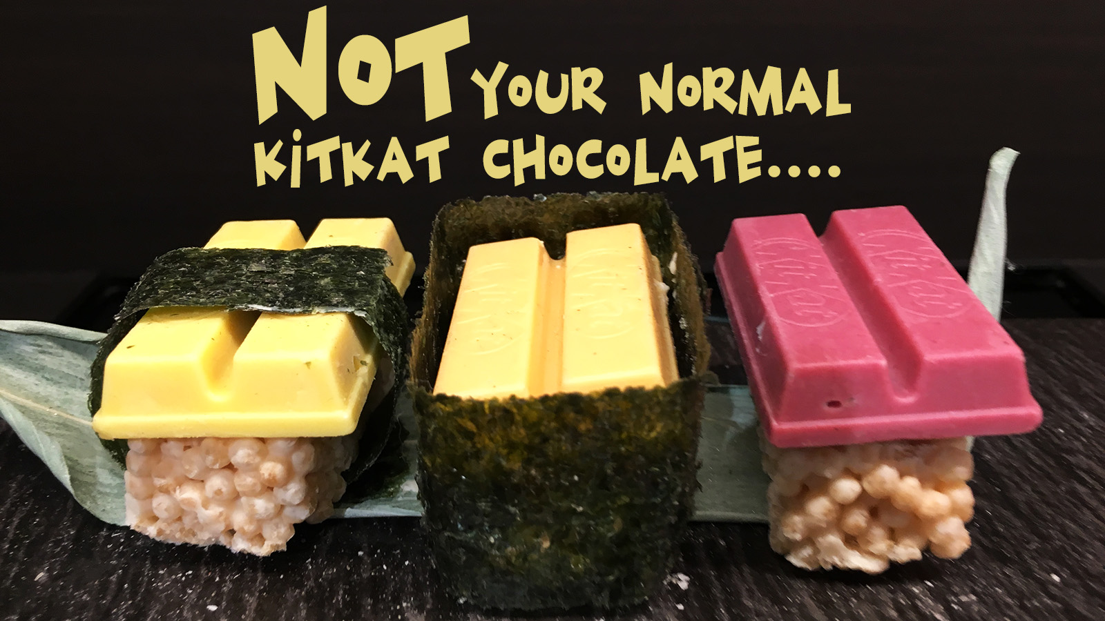 It's a sushi sets featuring a sushi omelet KitKat, a sea urchin sushi candy and a tuna sushi bar. (Shen Lu/MEDILL)