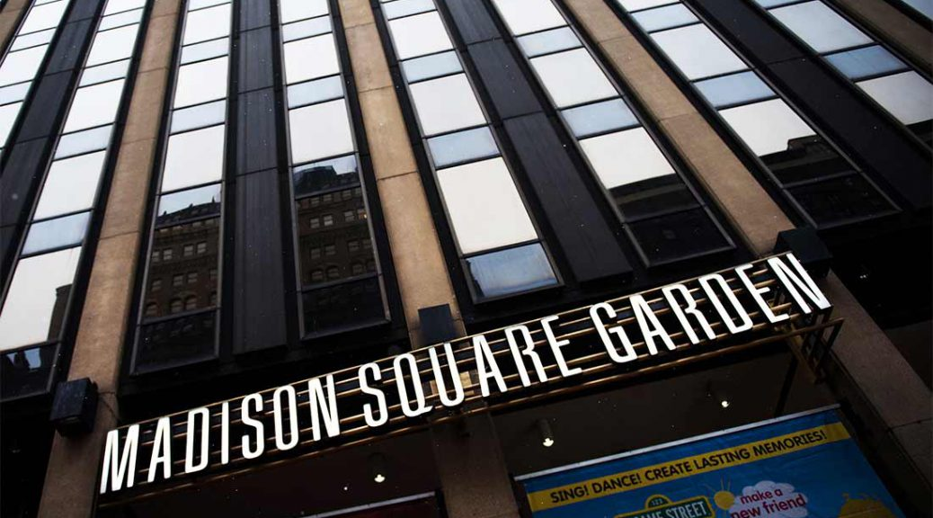 Signage is displayed on the exterior of Madison Square Garden Co. venue in New York City.
