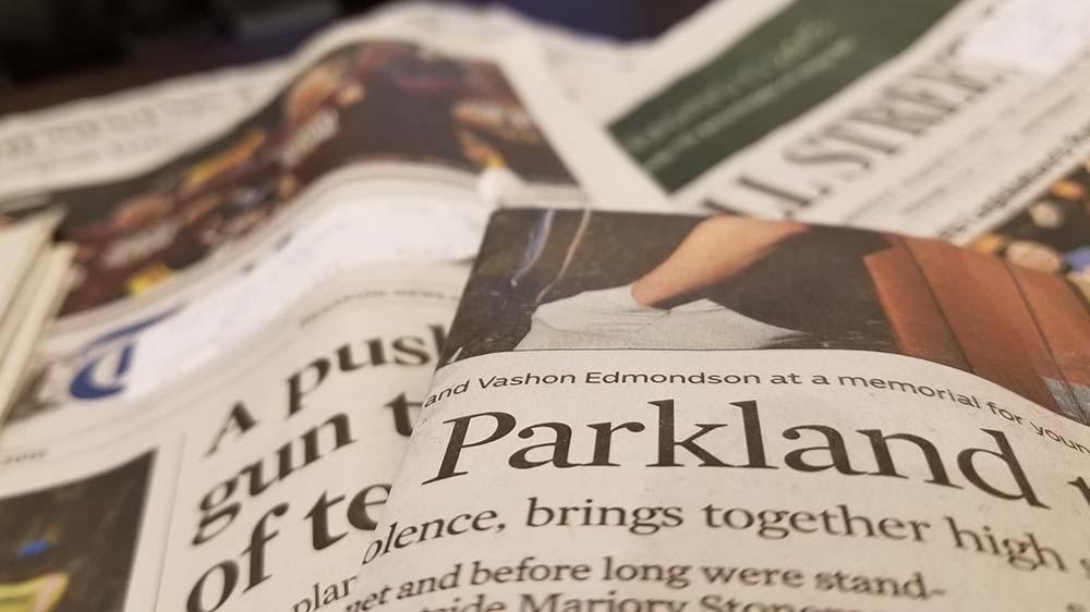 Newspapers with Parkland headline