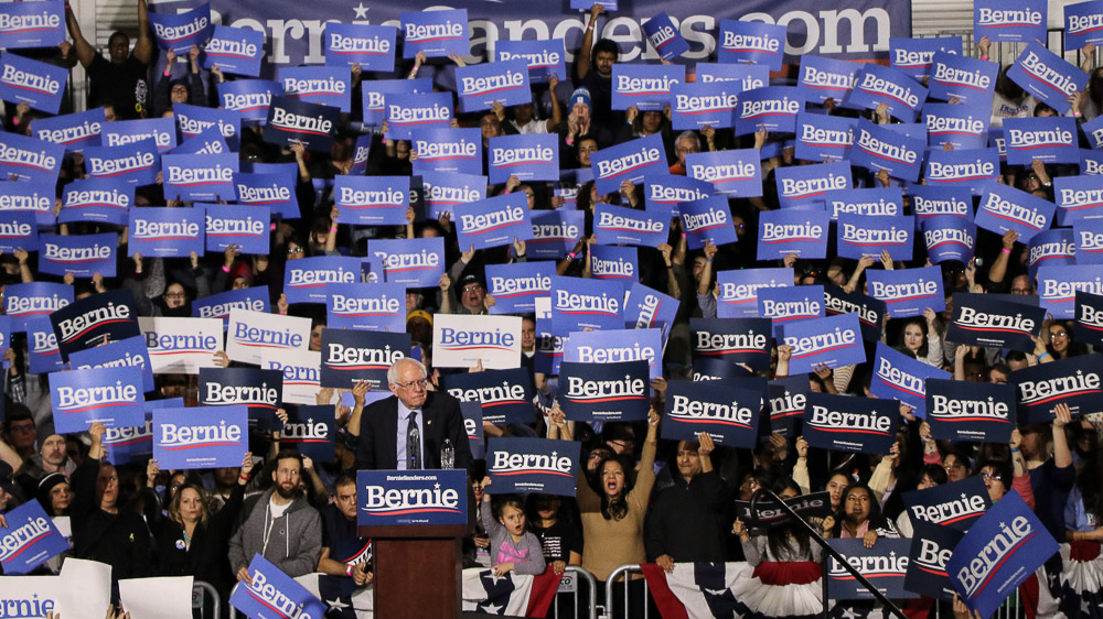 Bernie Sanders speaks at a rally in Chicago