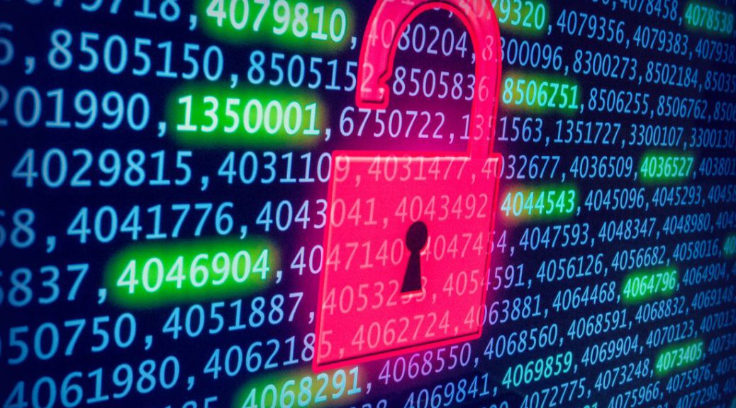 digital padlock overlayed onto cryptographic numbers