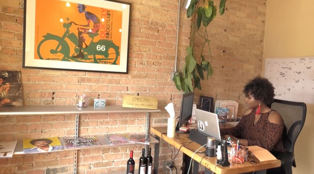 Managing director Rachel Gadson in her office space in The Bronzeville Incubator.