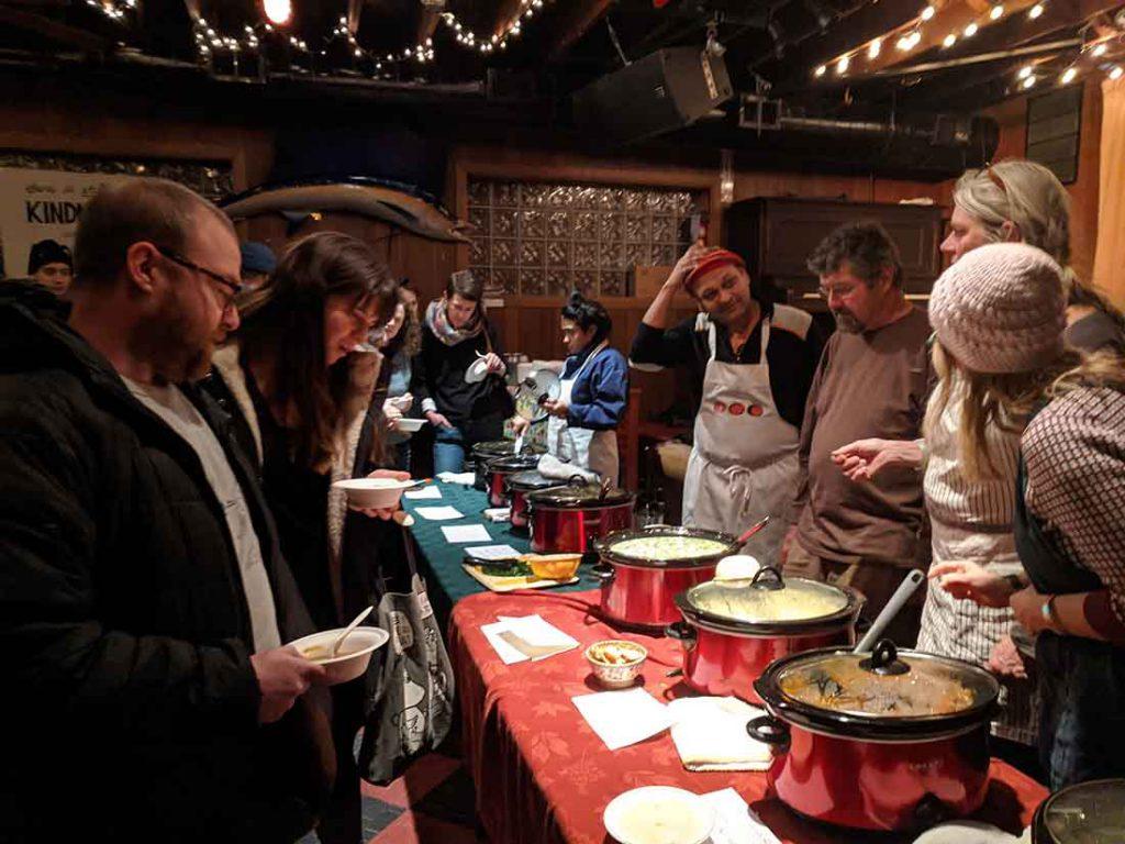 Hideout patrons line up for soup