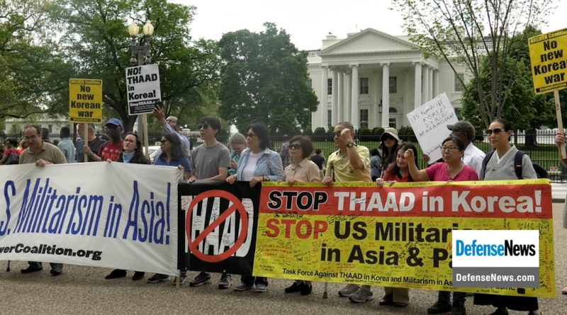 Anti-THAAD protesters in front of the White House (Wen-Yee Lee/MEDILL)