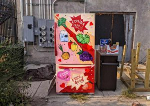 A fully stocked refrigerator in the alley behind Humboldt's Used Books.