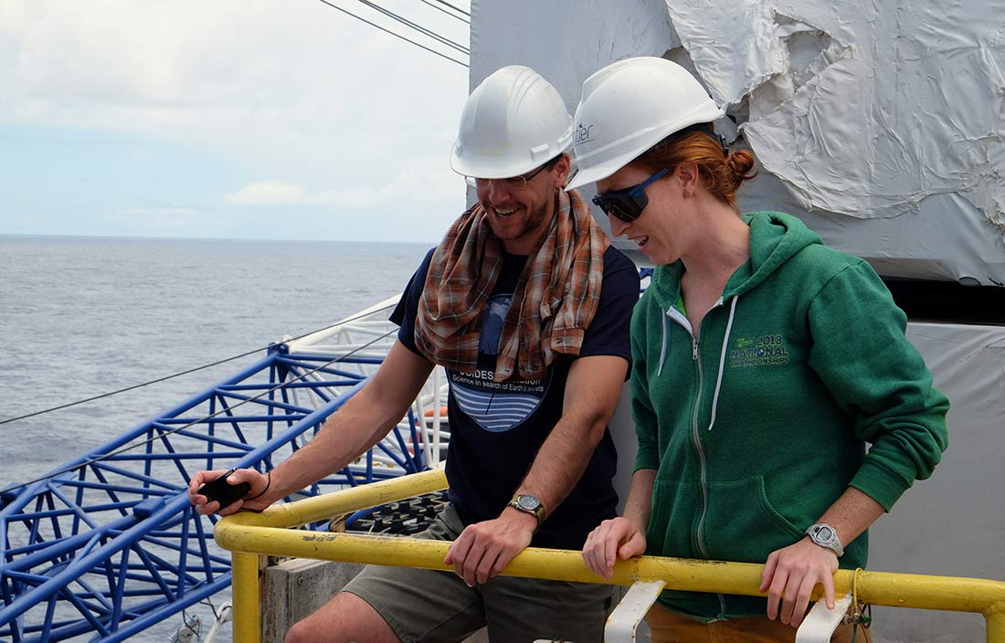 Sophie Hines and a colleague on a deep-sea drilling rig