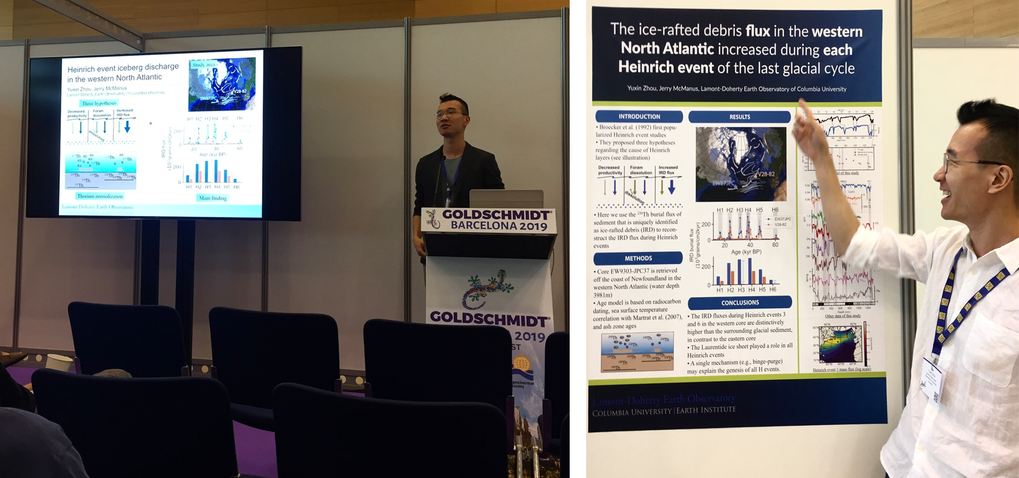 Yuxin Zhou standing at a podium presenting his research at the Goldschmidt geochemistry conference in Barcelona.