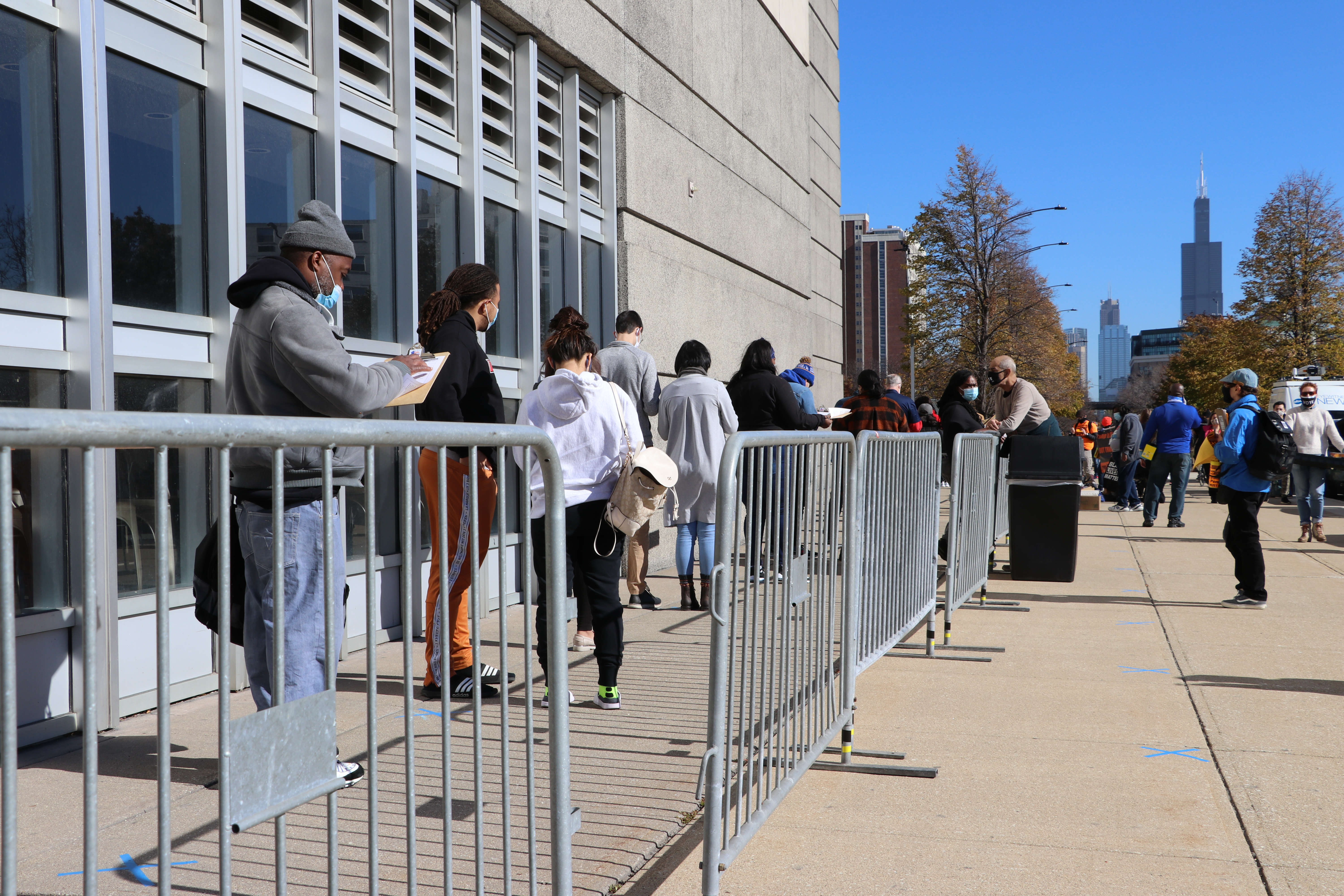 A line outside of the United Center arena in the West Loop neighborhood